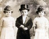 vintage photo Midget Munchkins 1918 Charles Stella and Helen Royal Sibling  real photo postcard