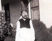 vintage photo Elva Nunkel in Bat Costume Mask Scary Halloween