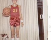 vintage photo 1970 BAsketball boy and dog