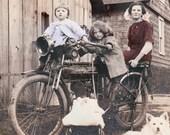 vintage photograph print Flying Merkel Motorcycle w Children and Dog 1915