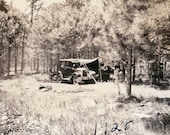 vintage photo Camping w Tent CAr in Woods 1925