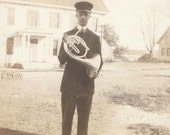 Vintage photo Young Man on French Horn 1909