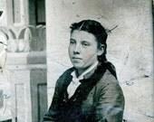 vintage photo tintype Civil WAr Era Teenage Girl tinted cheeks mid view nice