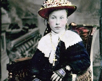 Eliza Girl Lace Gloves Flower Hat Tinted Tintype Fine Art Photo Print