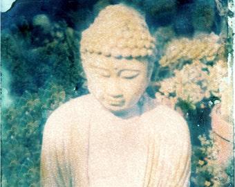 greeting card Buddha in Garden w Flowers transfer photography