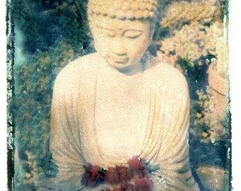 Buddha in Garden w Flowers Transfer Vintage Photo Prinit