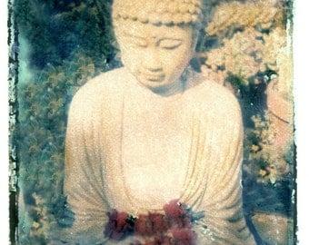 Buddha in Garden w Flowers Transfer Vintage Photo Prinit