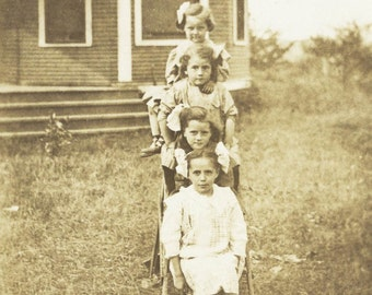 4 Little Girls Stair Step on Ladder RPPC