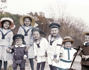 Adorable Large Group of Children Sailor Outfits German tinted vintage photograph