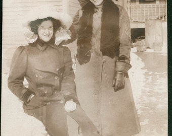 Two teen gals Big Bows in the Snow 1911 vintage photo