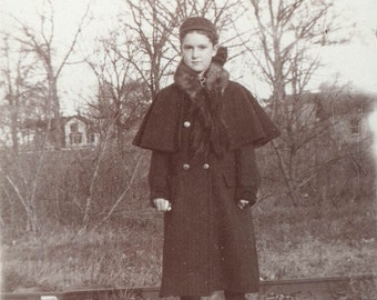 Young Teen in Wool CApe Fur COllar Coat on Railroad Tracks 1900 vintage photo