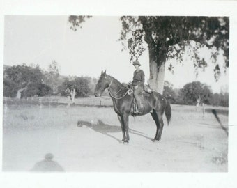 Lady Rides her Horse vintage photo