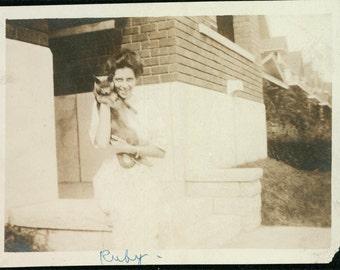 1914 Lady Ruby w Her Smokey Grey CAt vintage photo