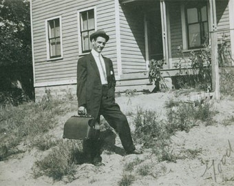 1910 Man w Suitcase Says Good Bye vintage photograph