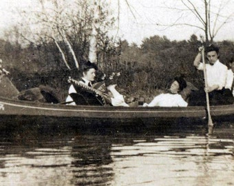 Canoe on River in Style 1900 vintage photo