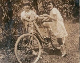 Little Girls with their Bike vintage photo