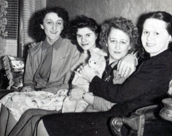 4 Women on Couch w  kitten vintage photo
