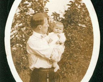 Father and Baby vintage photo