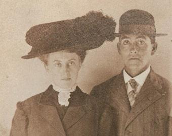 vintage photo Gem Miniature 1900 Couple