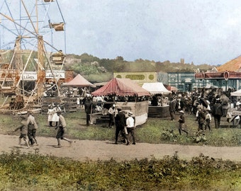 1906 The County Fair CArnival tinted fine art photograph