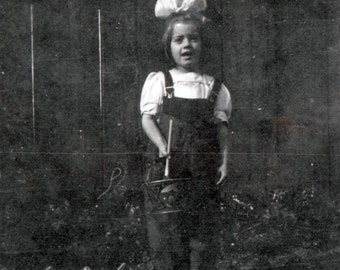 Little Girl holds her Sand Pail vintage photo