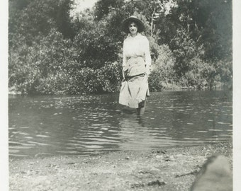 Man Takes Woman in Creek photo see his boot vintage photo