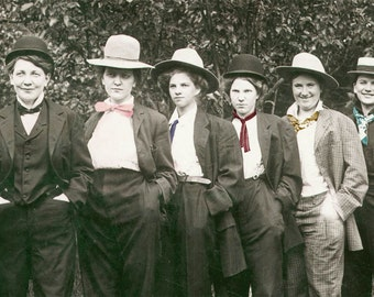 Women Dressed as Men Ties Hats fun Girls Lesbian interest Tinted Vintage photo Print