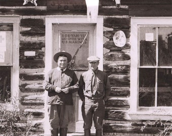 log cabin 1922 NEgative  2 men at ghost town post office wyoming