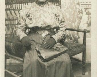 vintage photo woman gloves purse Photo postcard