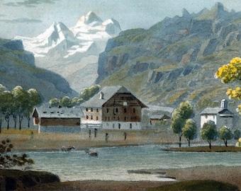 Aquatint Etching View of Kandersteg Switzerland