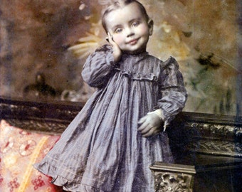 photograph Sweetheart Little Girl in BLue Dress Tinted Vintage Photography