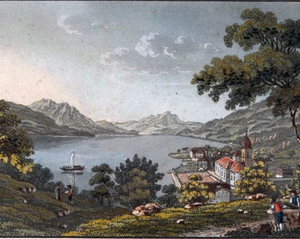 Aquatint Etching 1850 Suisse Gersau Sur le La des Waldstetten