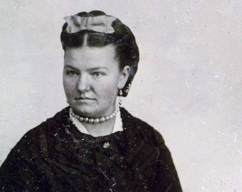 vintage photo tintype woman w Pearls photograph