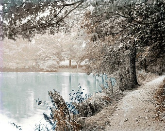 photography Mystical Forest Pond Tinted Vintage photo Print