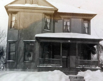 vintage photo Victorian House in WInter Snow AMericana home