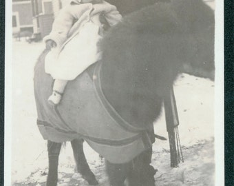 vintage photo mother holds Baby on Pony Horse