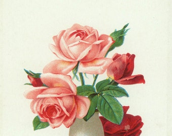 vintage Valentine Pink and Red Roses Sincere Greetings