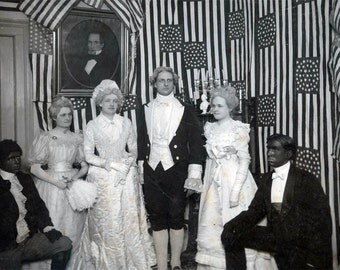 Vintage photo Geo Washington & Wife Black Face Men James Monroe Flags unusual 1897