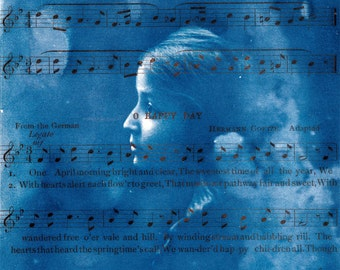original Cyanotype Photo beauty young girl from Glass Negative