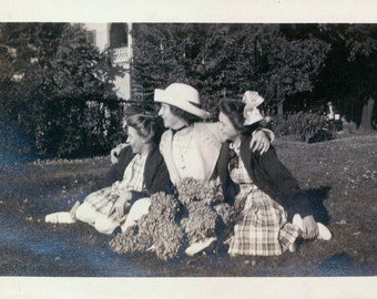 vintage photo Woman and two daughters w Huge Bouquets of Hydrangeas