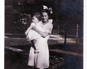 vintage photo Girl Hold Baby Sister so sweet