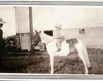 vintage photoLittle Boy Rides First Pony w DAd