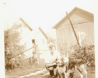 vintage photo Little Boy w DAd and Collie Dog on Farm