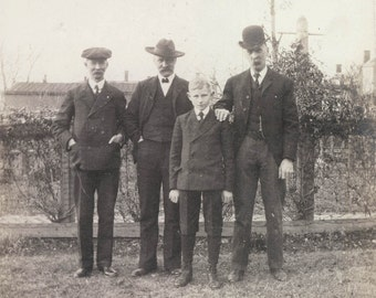 vintage photo Mustache Uncles DAd Young Boy All Hats Suits Scandinavian