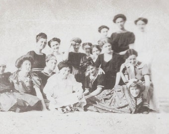 vintage photo Women at Beach w dog Swim Costumes 1912