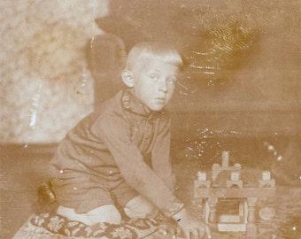 vintage photo Boy plays with Building Blocks future Architect 1910