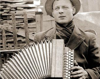 Vintage Photograph Print Accordian Man reprint Music