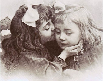 Kissing Cousins Sweet Victorian Girls Share a Kiss Vintage photo Card print