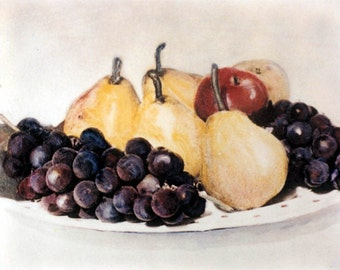 Fruit Plate Pears and Grapes tinted Fine Art Photograph