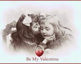 Be Mine Valentine Kissing Children Fine ARt Photo Greeting Card